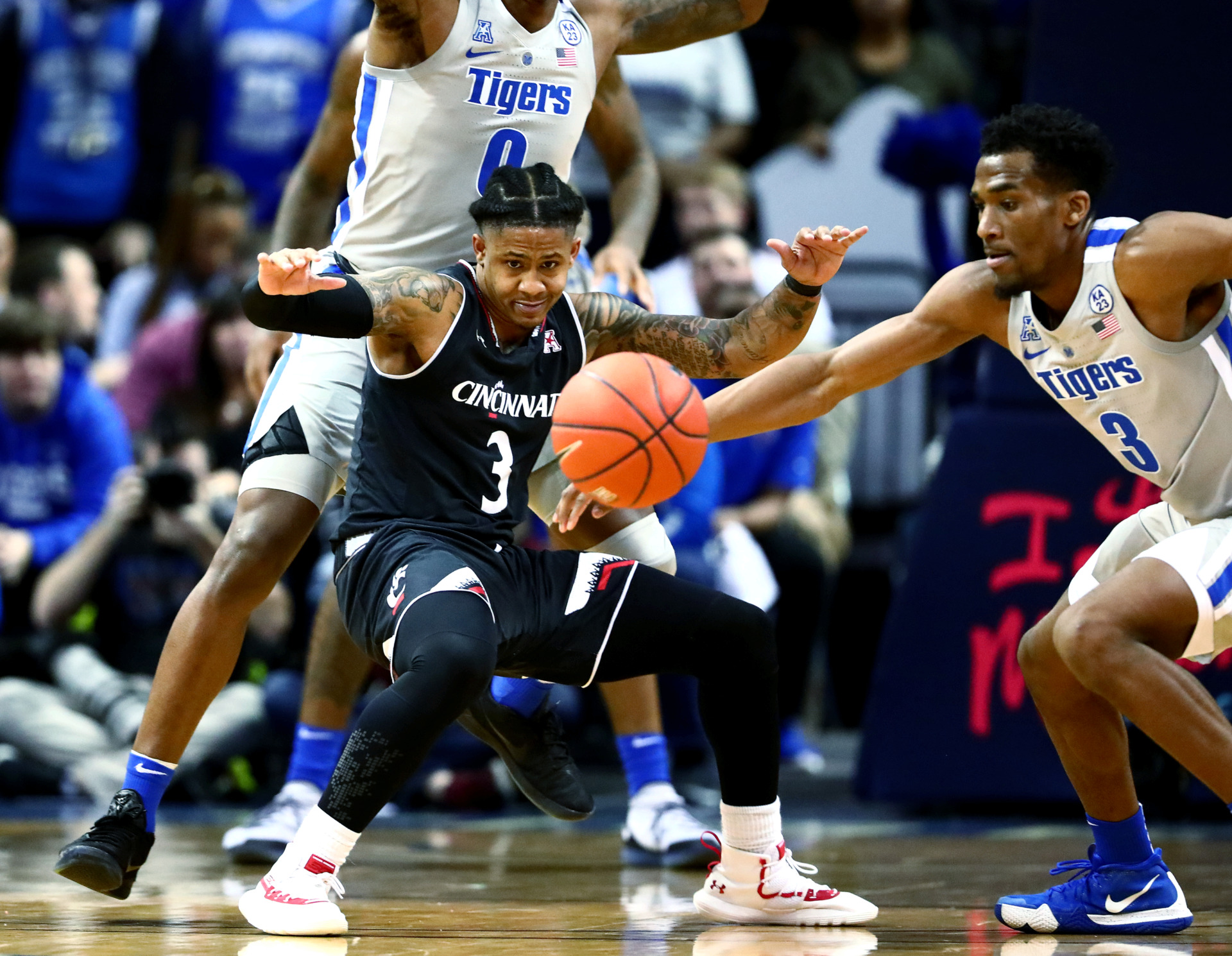 Memphis Tigers senior guard Jeremiah Martin (3) steals the ball from Cincinnati Bearcats guard Justin Jenifer (3) during a game against the Bearcats on Thursday, Feb. 7, 2019, in Memphis. The Tigers fell 69-64 despite Martin's strong performance. (Houston Cofield/Daily Memphian)