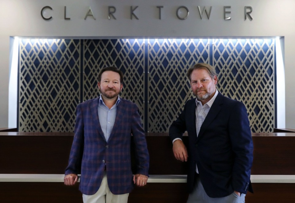<strong>Jacob Biddle (left) and Shane Soefker are managing partners and co-owners of Clark Tower.</strong> (Patrick Lantrip/Daily Memphian)