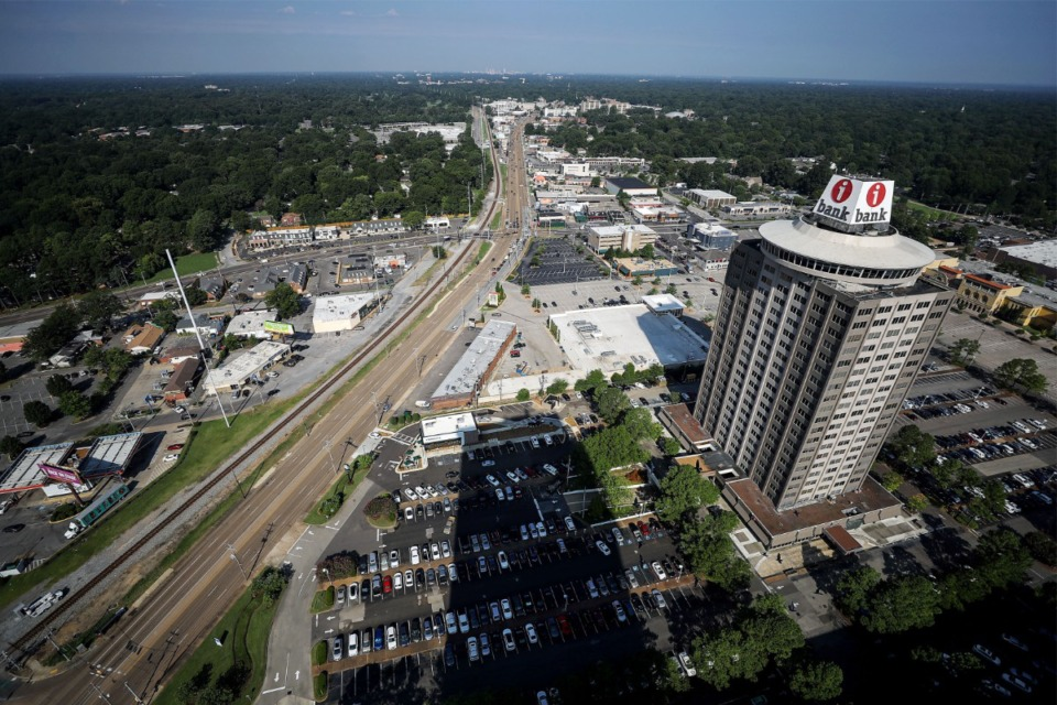 <strong>Clark Tower casts an imposing shadow over the surrounding East Memphis landscape.</strong> (Patrick Lantrip/Daily Memphian)