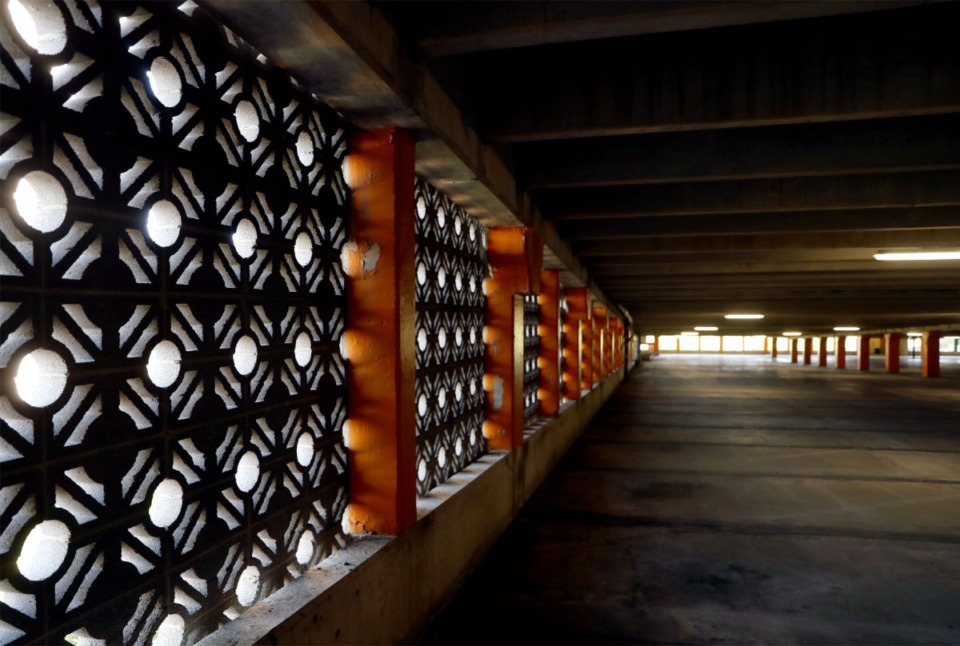 <strong>The decorative concrete blocks that comprise Clark Tower&rsquo;s garage walls have had some failures and will be replaced with a different, decorative material.</strong> (Patrick Lantrip/Daily Memphian)