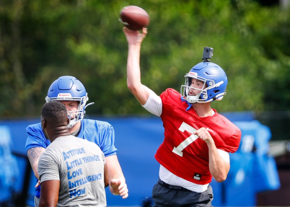 <strong>University of Memphis quarterback Grant Gunnell makes a throw during the team&rsquo;s first day of practice on Aug. 6.</strong> (Mark Weber/Daily Memphian)