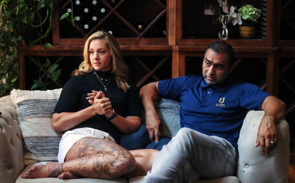 <strong>Tony and Angela Sarwar sit in the living room of their Collierville home Aug. 26, 2021.</strong> (Patrick Lantrip/Daiy Memphian)