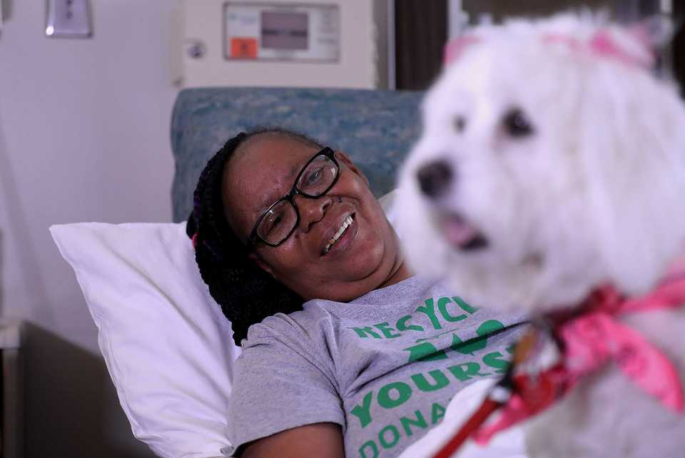 "<strong>&ldquo;She&rsquo;s so pretty,&rdquo; St. Francis patient Robbie Gail Woods said after a visit from Lily on Wednesday, Sept. 26. &ldquo;When the dog came in, it just brightened up my world and brightened up my day,"" Woods said.</strong>&nbsp;(Patrick Lantrip/Daily Memphian)"