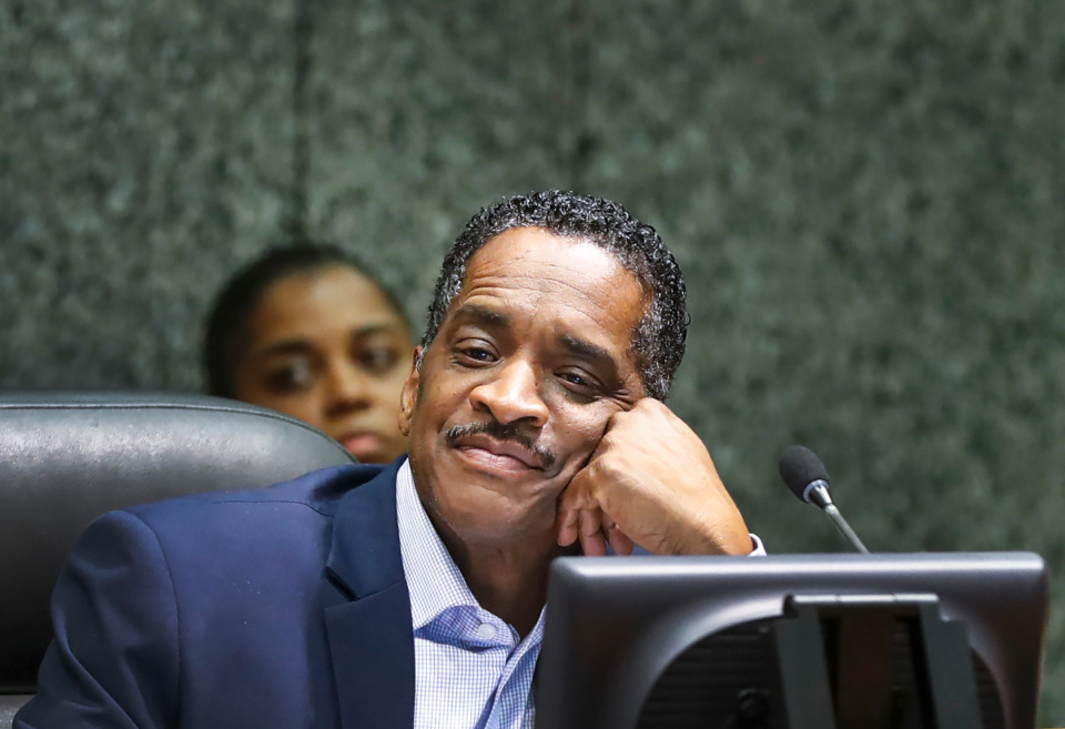 <strong>Shelby County Commissioner Eddie Jones during a meeting Monday, Feb. 24, 2020. Jones&rsquo; tenure as chairman of the commission is coming to a close.</strong> (Mark Weber/Daily Memphian file)