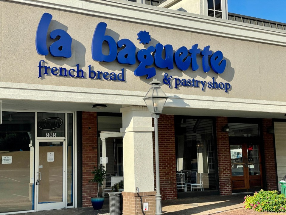 <strong>La Baguette is being renovated and will reopen Sept. 7, the day after Labor Day. The new sign matches the blue and white color scheme.</strong> (Jennifer Biggs/Daily Memphian)