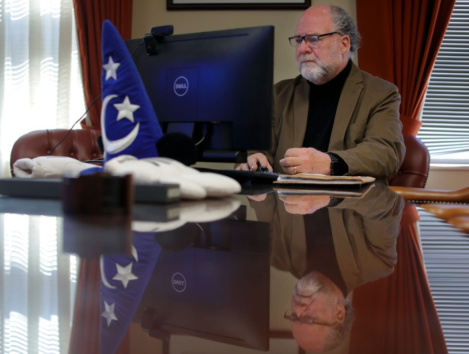 <strong>Memphis Shelby County Juvenile Court Judge Dan Michael conducts a hearing via Zoom in 2020.</strong> (Patrick Lantrip/Daily Memphian)