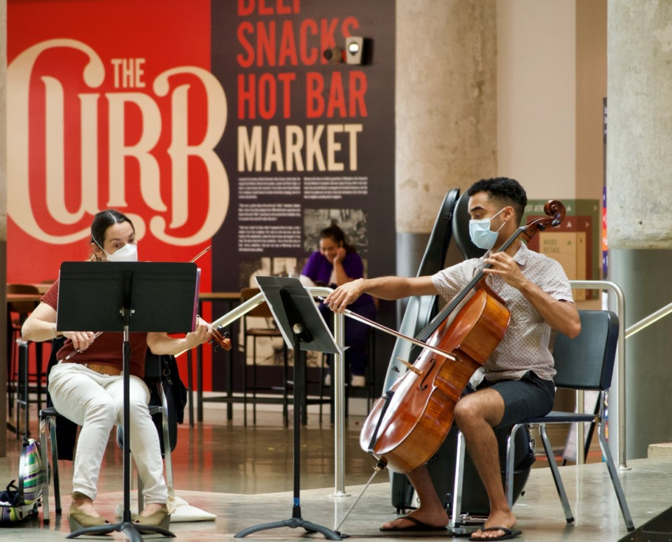 <strong>The Curb Market is one of 17 business or nonprofit tenants looking to fill positions at a Crosstown Concouse jobs fair from 10 a.m. to 1 p.m. on Sept. 11. Classical musicians perform Tuesday, Aug. 31, in the Central Atrium, where the jobs fair will be</strong>. (Tom Bailey/Daily Memphian)