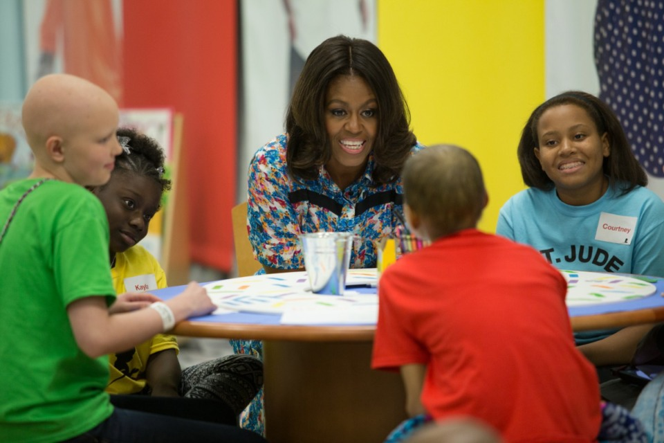 <strong>Former First Lady Michelle Obama visited with St. Jude patients during a trip to Memphis in 2014.</strong> (The Daily Memphian file)