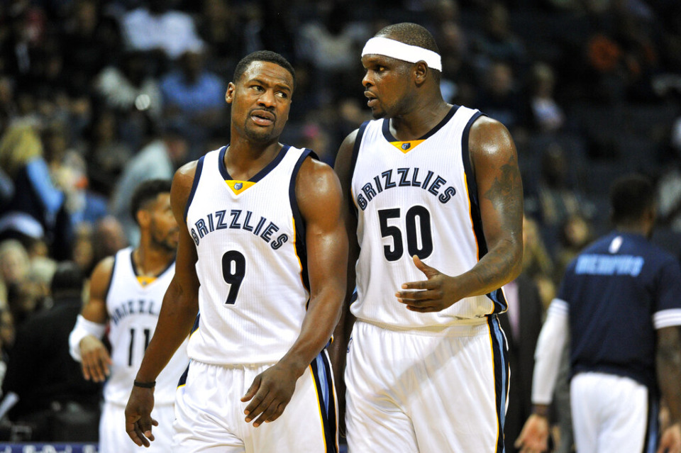 <strong>Tony Allen (9) and Zach Randolph (50) talk on the court in the first half of an NBA basketball game against the Brooklyn Nets Saturday, Oct. 31, 2015, in Memphis.</strong> (AP Photo/Brandon Dill)