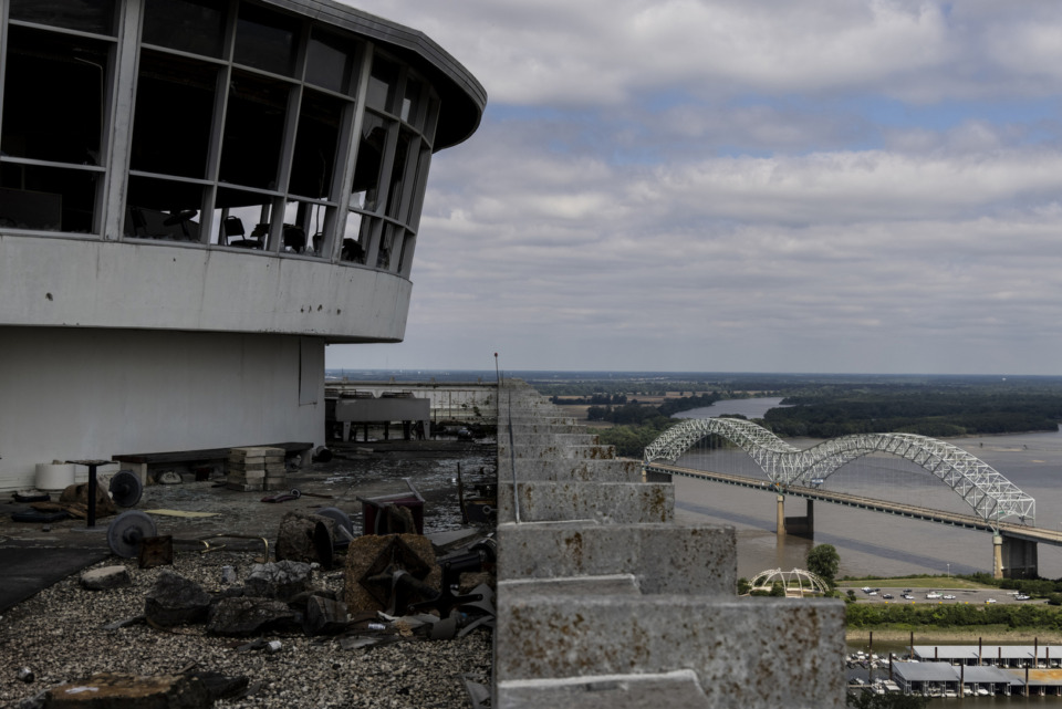 <strong>A view from what was the round, revolving rooftop restaurant atop the vacant 100 North Main Building on Sunday, May 30. Diners would complete one revolution every 90 minutes.</strong> (Brad Vest/Special to the Daily Memphian file)