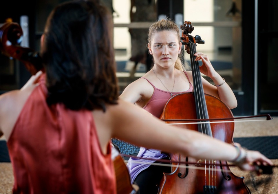 <strong>Afghan music student Nazira Wali (right) practices the cello with University of Memphis Professor Kimberly Patterson, Wednesday, Sept. 1, 2021, on campus.</strong> (Mark Weber/The Daily Memphian)