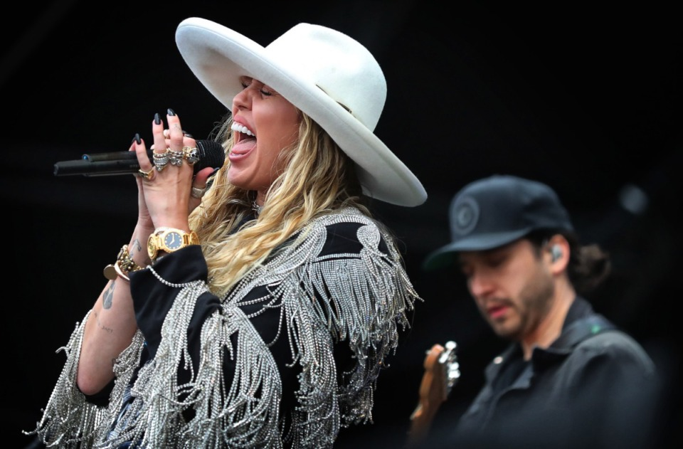 <strong>Pop star Miley Cyrus makes a surprise appearance at the Beale Street Music Festival on May 4, 2019 performing several of her hits as well as a duet with Grammy award wining singer songwriter Marc Cohn on the Terminix Stage at Tom Lee Park.</strong> (Jim Weber/Daily Memphian)