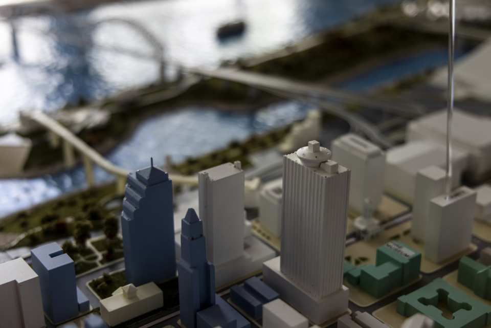 <strong>The 100 North Main Building (with its revolving, round rooftop restaurant) is seen on a model of Downtown Memphis at the Downtown Memphis Commission offices.</strong> (Brad Vest/Special to the Daily Memphian file)