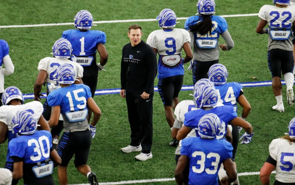 <strong>Memphis head football coach Ryan Silverfield conducts practice on Tuesday, March 23, 2021. The progress of the football team through three coaches is a highlight of the U of M&rsquo;s prospects for realignment.</strong> (Mark Weber/The Daily Memphian)