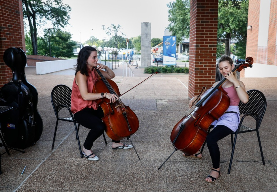 <strong>University of Memphis music student Nazira Wali (right) practices the cello with Professor Kimberly Patterson (left), Wednesday, Sept. 1, 2021 on campus.</strong> (Mark Weber/The Daily Memphian)