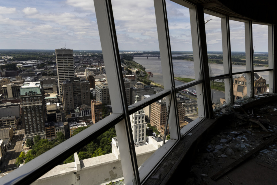 <strong>A view from what was the round, revolving rooftop restaurant atop the vacant 100 North Main Building on Sunday, May 30. Diners would complete one revolution every 90 minutes.&nbsp;</strong>(Brad Vest/Special to The&nbsp; Daily Memphian)