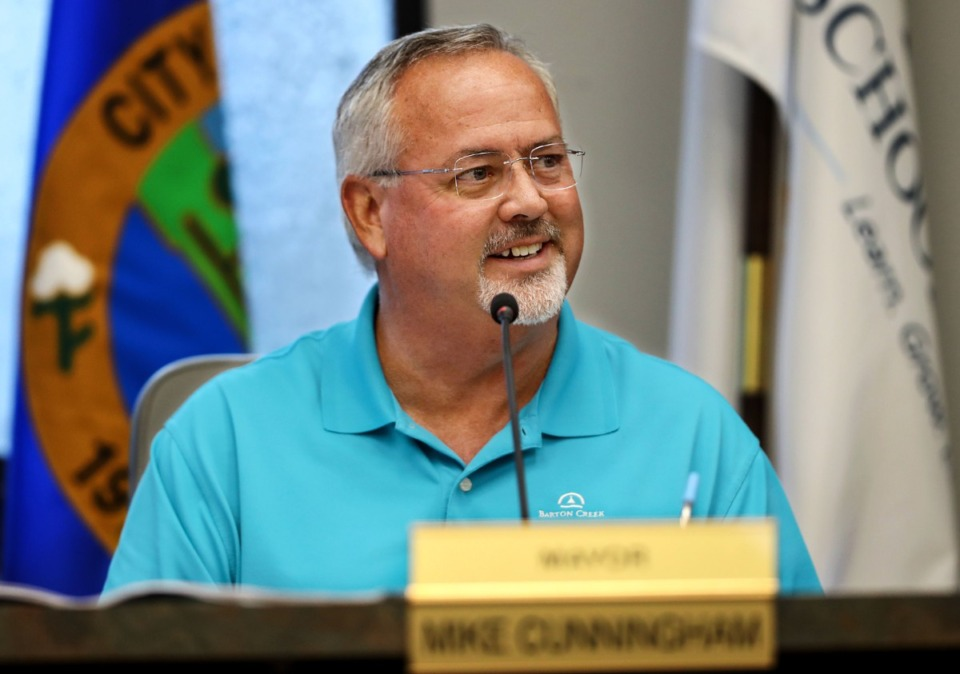 <strong>Lakeland mayor Mike Cunningham sits in on an Aug. 19, 2021 Lakeland Municipal Planning Commission meeting.</strong> (Patrick Lantrip/Daily Memphian)