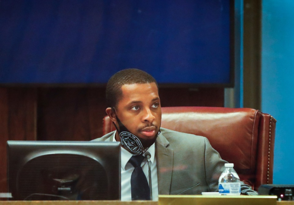 <strong>City Council member JB Smiley Jr. attends the council&rsquo;s first in-person session in over a year on Tuesday, May 18, 2021.</strong> (Mark Weber/The Daily Memphian file)