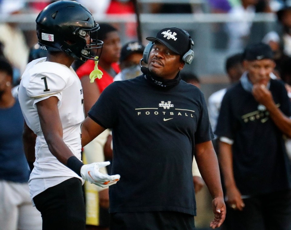 <strong>Whitehaven head coach Rodney Saulsberry talks to a player duriing the game against Germantown on Friday, Sept. 3.</strong> (Mark Weber/The Daily Memphian)