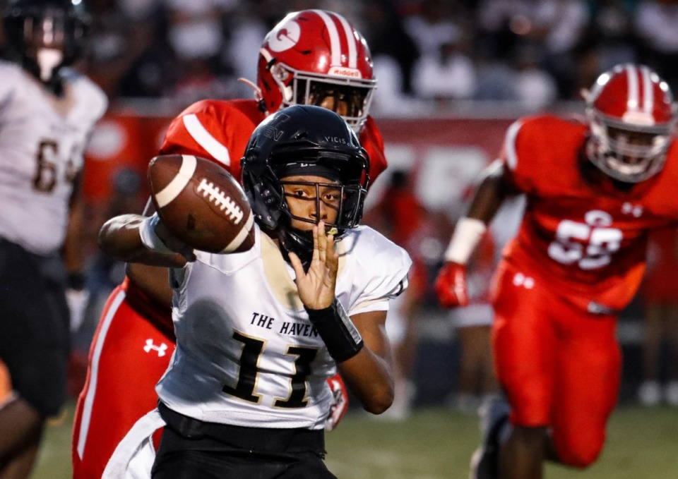 <strong>Whitehaven quarterback Carver Williams throws a pass against Germantown on Friday, Sept. 3.</strong> (Mark Weber/The Daily Memphian)