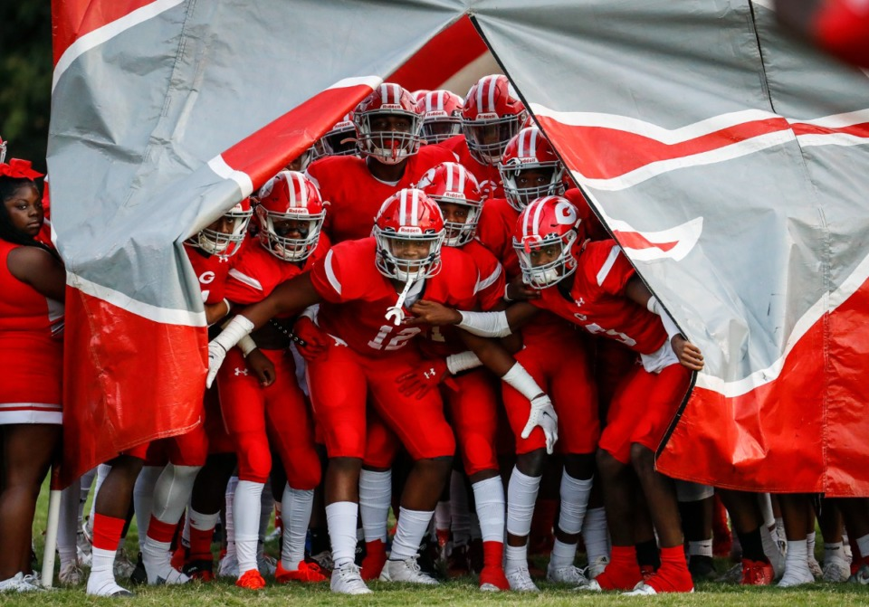 <strong>Germantown players take the field against Whitehaven on Friday, Sept. 3.</strong> (Mark Weber/The Daily Memphian)