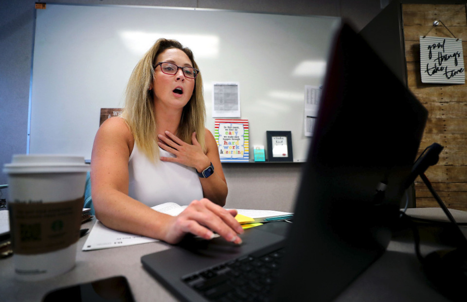 <strong>Third-grade language arts teacher Elizabeth Lowe reacts to an unexpected technical difficulty that temporarily kicked her out of her virtual class at Collierville Virtual Academy on Friday, Sept. 3.</strong> (Patrick Lantrip/Daily Memphian)