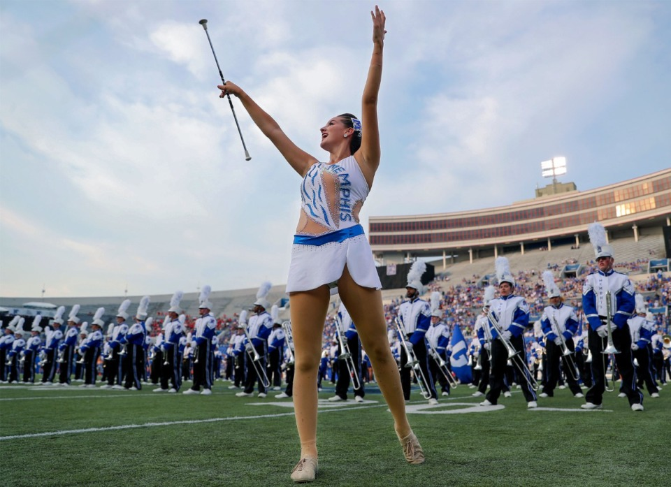 <strong>The University of Memphis band performs before a Sept. 4, 2021 game against Nicholls State at Liberty Bowl Memorial Stadium.</strong> (Patrick Lantrip/Daily Memphian)