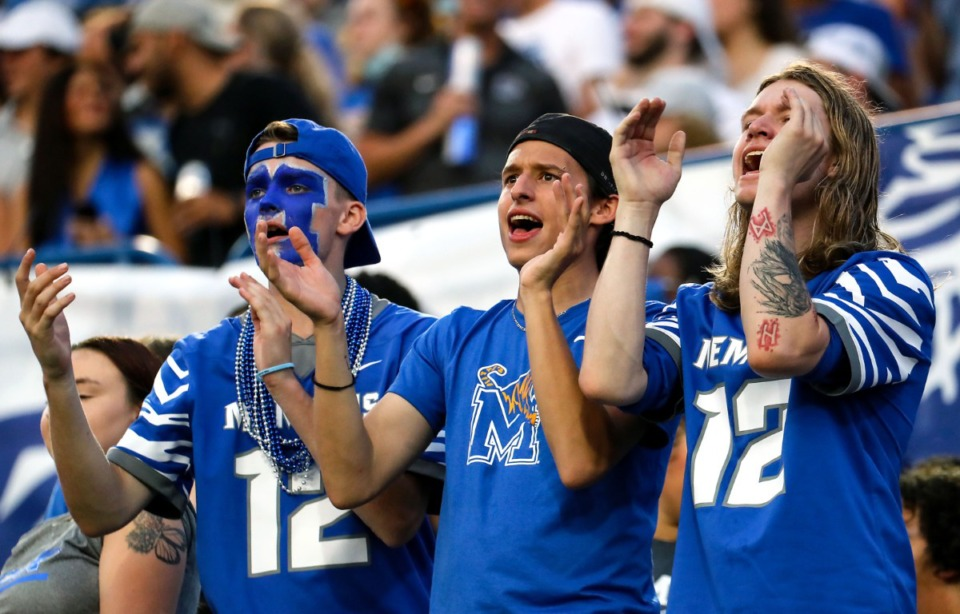 <strong>University of Memphis fans react to a bad call during a Sept. 4, 2021 game against Nicholls State.</strong> (Patrick Lantrip/Daily Memphian)