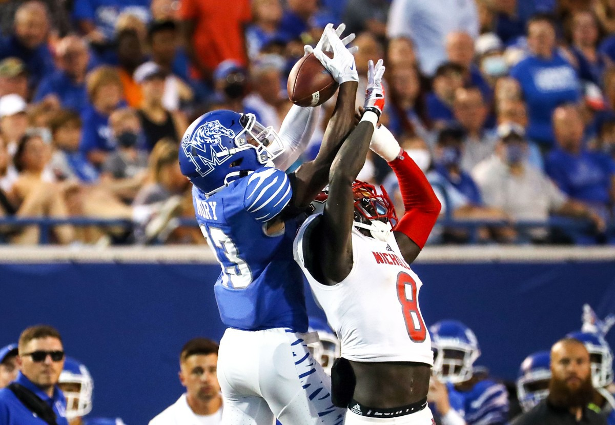 <strong>University of Memphis receiver Javon Ivory goes up for a catch during a Sept. 4, 2021 game against Nicholls State at Liberty Bowl Memorial Stadium.</strong> (Patrick Lantrip/Daily Memphian)
