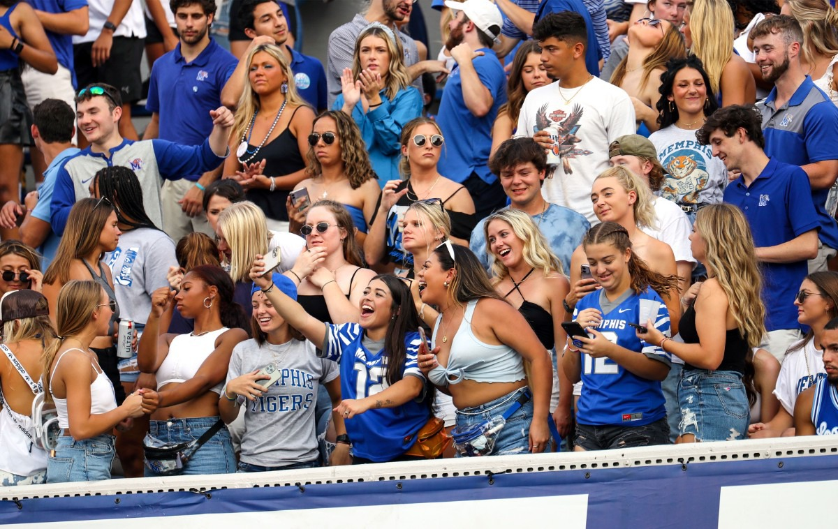 <strong>University of Memphis fans take a selfie during a Sept. 4, 2021 game against Nicholls State.</strong> (Patrick Lantrip/Daily Memphian)