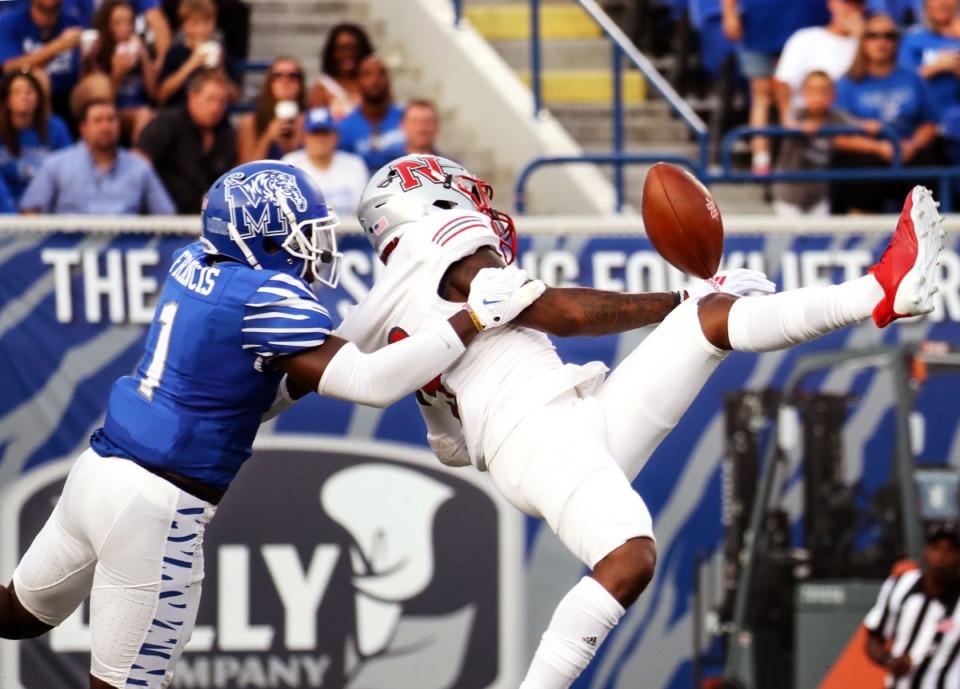 <strong>University of Memphis cornerback Jacobi Francis (1) breaks up a pass&nbsp; during a Sept. 4, 2021 game against Nicholls State at Liberty Bowl Memorial Stadium.</strong>&nbsp;(Patrick Lantrip/Daily Memphian)