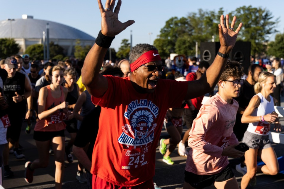 <strong>Participants start the 18th Annual Chick-fil-A 5K benefitting My Town Miracles at Tiger Lane.</strong> (Brad Vest/ Special to The Daily Memphian)&nbsp;