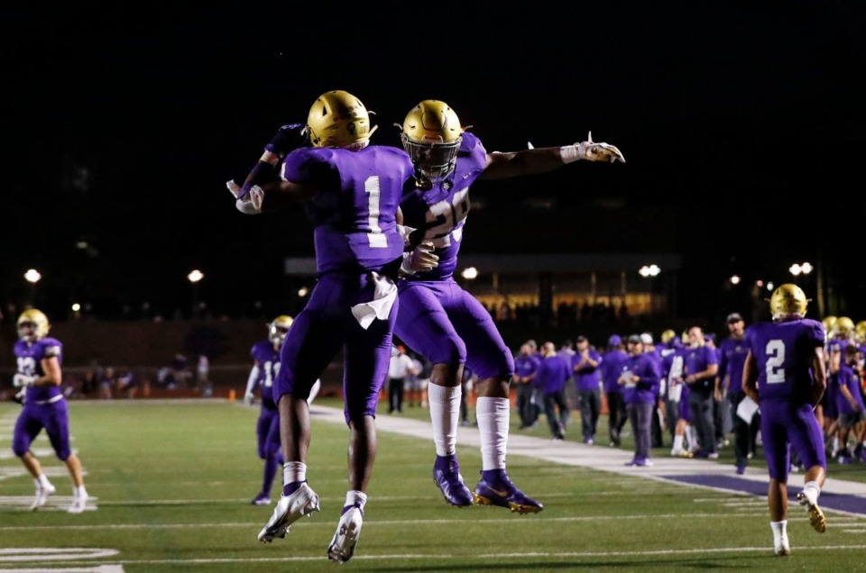 <strong>CBHS running back Dallan Hayden (left) celebrates a touchdown with teammate Branden Barnes (right) in the game against MUS on Friday, Sept. 4, 2020.</strong> (Mark Weber/Daily Memphian)