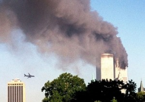 <strong>A plane approaches New York's World Trade Center moments before it struck the tower at left, on Tuesday, Sept. 11, 2001.</strong> (William Kratzke/Associated Press file)