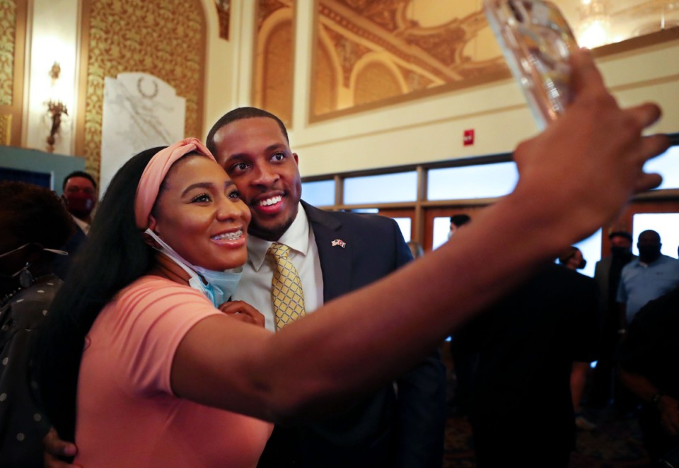<strong>Memphis City Council member JB Smiley Jr. takes a selfie with a member of the audience after an event announcing his bid for governor of Tennessee at the Orpheum Theatre on Wednesday, Sept. 8, 2021.</strong> (Patrick Lantrip/Daily Memphian)