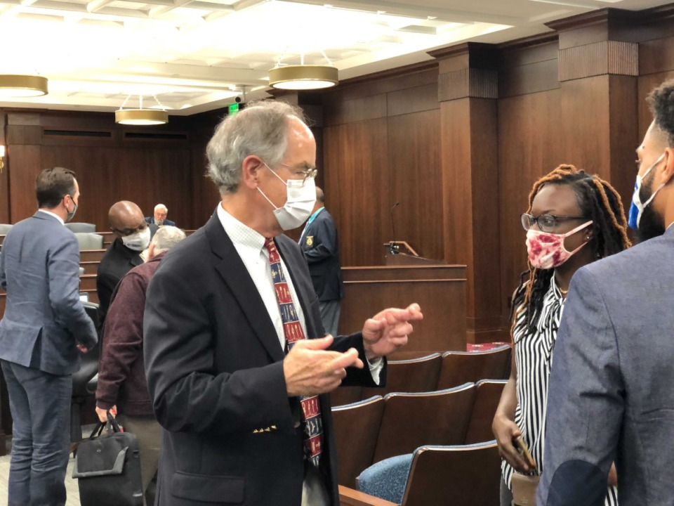 <strong>U.S. Rep. Jim Cooper crosses his fingers at the state House Select Committee on Redistricting in Nashville on Sept. 8, 2021.</strong> (Ian Round/Daily Memphian)