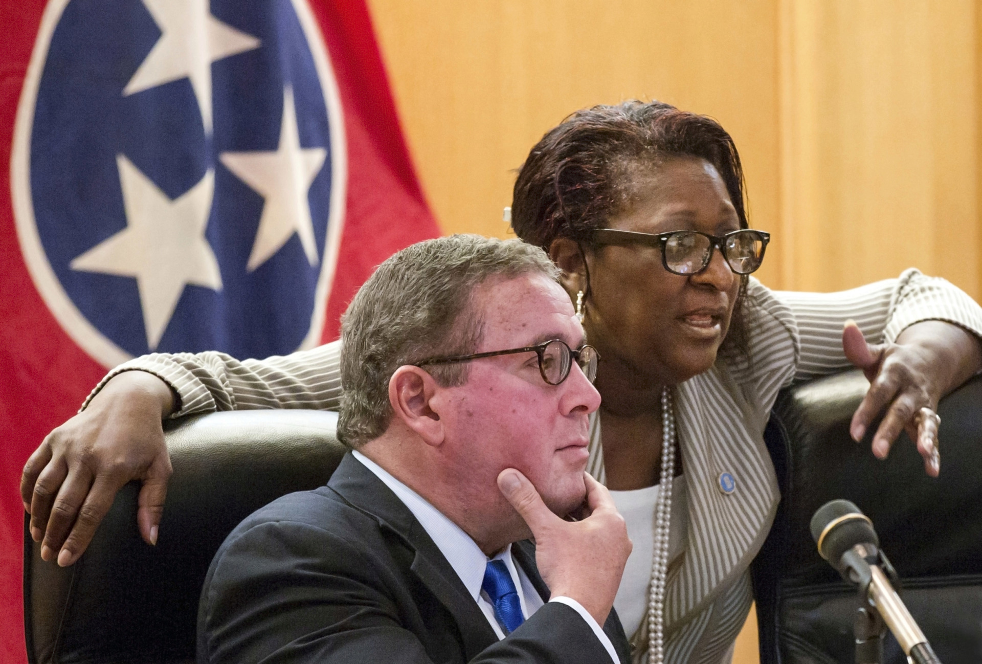 <strong>State Rep. Karen Camper, D-Memphis (right) confers with then-Rep. Gerald McCormick, R-Chattanooga, before a House Finance Subcommittee in Nashville in 2017. Camper is criticizing a bill that cuts the authority of police oversight boards, saying it is an effort by Republican state lawmakers to control local government.</strong> (Erik Schelzig/AP file photo)