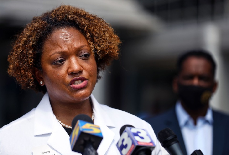<strong>Shelby County Health Department director Dr. Michelle Taylor spoke outside of Le Bonheur Children's Hospital in August.</strong> (Patrick Lantrip/Daily Memphian file)
