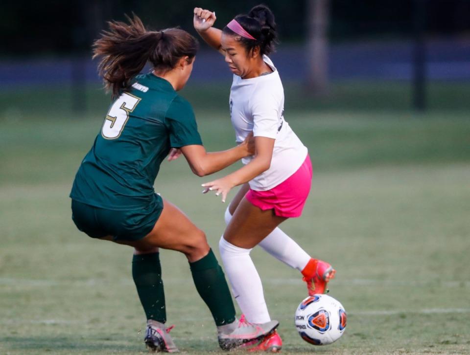 <strong>Houston midfielder Lauren Fang (right) moves the ball around Briarcrest defender Taylor Martin (left).</strong> (Mark Weber/The Daily Memphian)