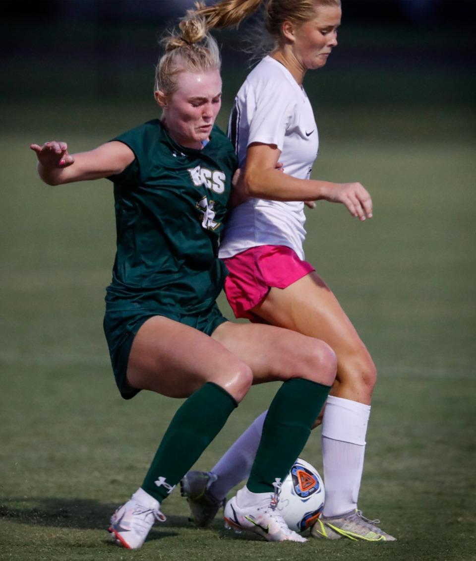 <strong>Briarcrest defender Caroline Oldham (front) battles Houston midfielder Ruby Langford (back).</strong> (Mark Weber/The Daily Memphian)