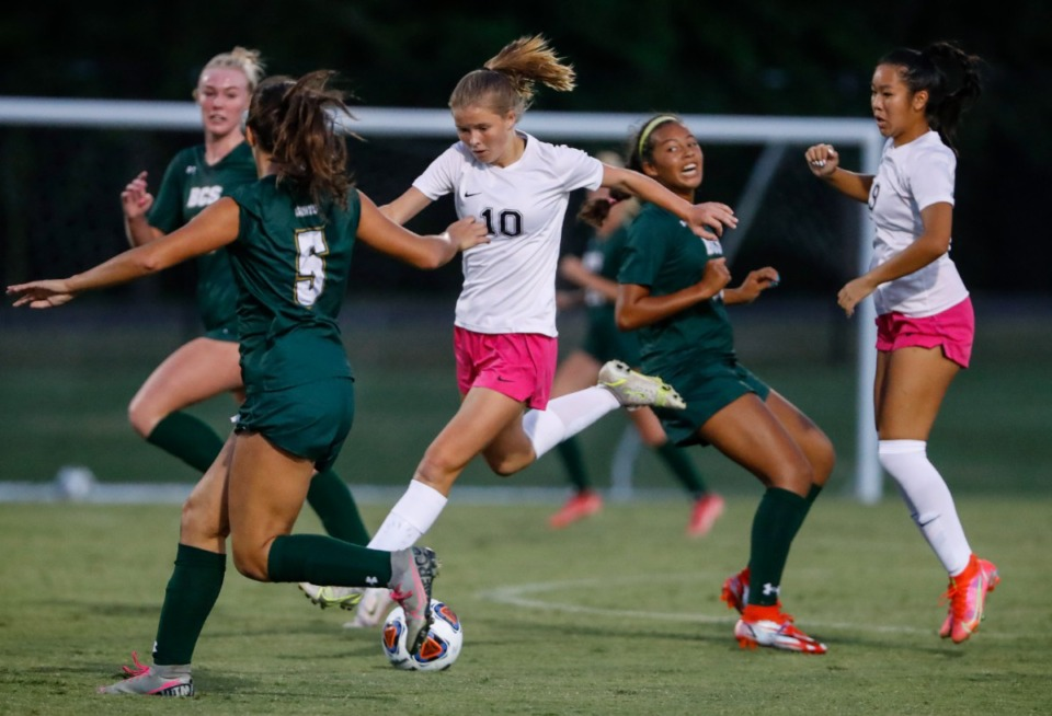 <strong>Houston midfielder Ruby Langford (middle) moves the ball against the Briarcrest defense during action on Thursday, Sept. 9, 2021.</strong> (Mark Weber/The Daily Memphian)