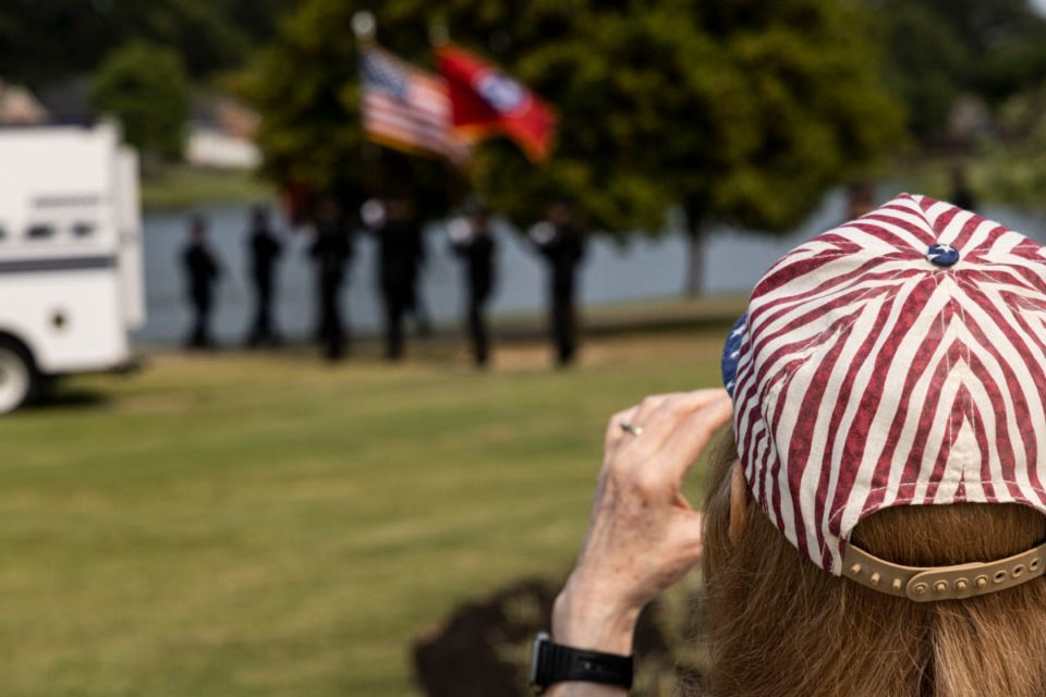 <strong>People watch as Bartlett&rsquo;s 9/11 Memorial Service comes to an end at Bartlett&rsquo;s First Responders Monument.</strong> (Brad Vest/Special to The Daily Memphian)