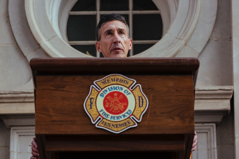 <strong>Congressman David Kustoff speaks during 9/11 rememberance service in Downtown Memphis on Saturday, Sept. 11, 2021.</strong> (Ziggy Mack/Special to The Daily Memphian)