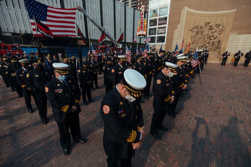 <strong>Memphis firefighters and police officers honor the lives lost during the events 9/11, during a ceremony Saturday, Sept. 11, 2021 in Downtown Memphis.</strong> (Ziggy Mack/Special to The Daily Memphian)