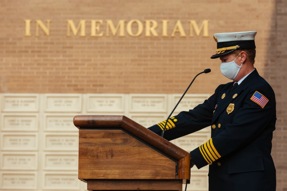 <strong>Fire Chief Gina Sweat speaks during 9/11 rememberance service in Downtown Memphis on Saturday, Sept. 11, 2021</strong> (Ziggy Mack/Special to The Daily Memphian)