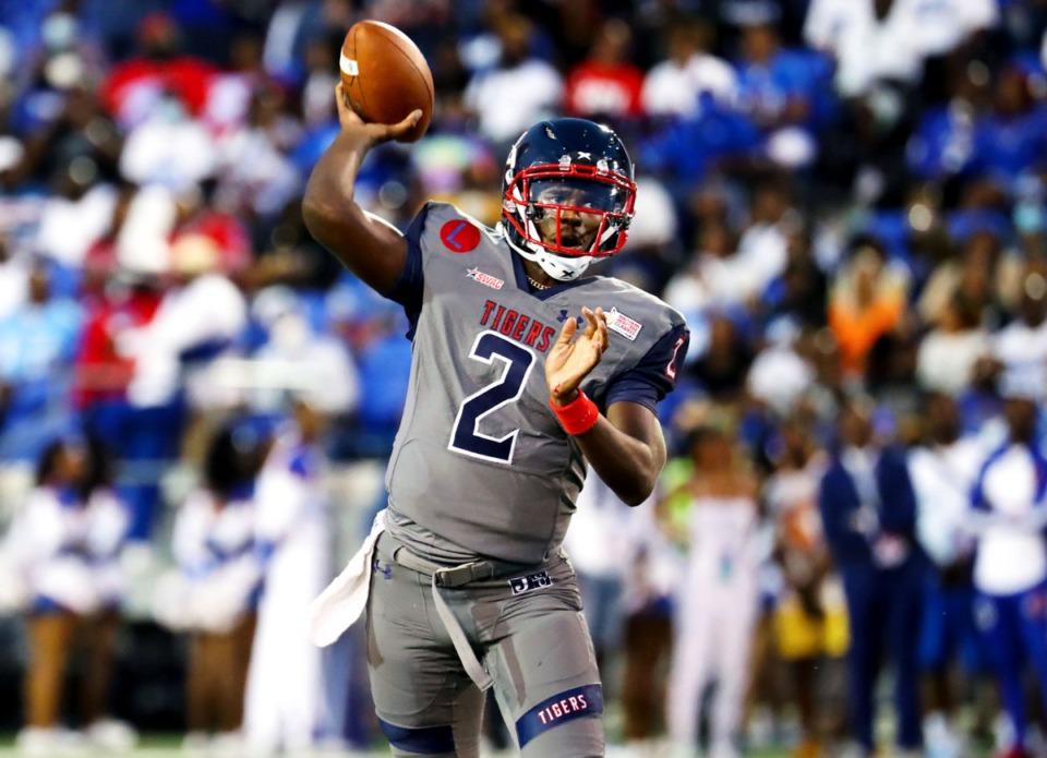 <strong>Shedeur Sanders (2) led Jackson State to victory Saturday night at Liberty Bowl Memorial Stadium</strong>. (Patrick Lantrip/Daily Memphian)