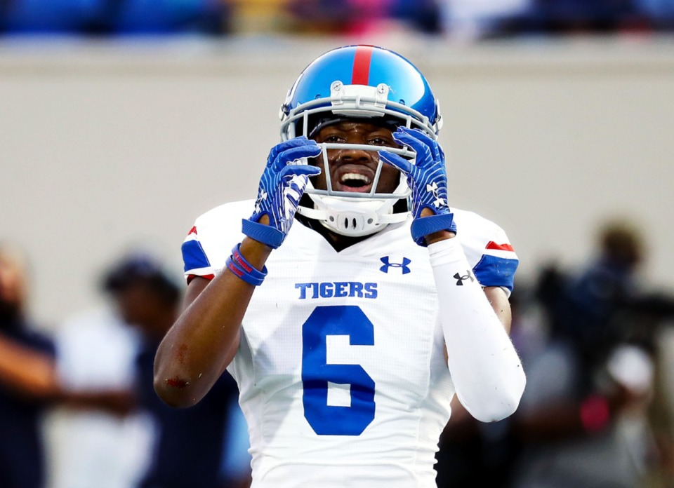 <strong>Tennessee State safety Josh Green reacts to a pass interference call, Sept. 11, 2021.</strong> (Patrick Lantrip/Daily Memphian)