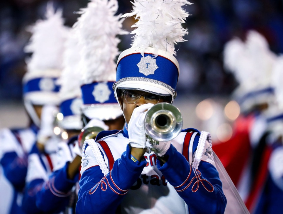 <strong>The Tennessee State band performs at the halftime during the Southern Heritage Classic.</strong> (Patrick Lantrip/Daily Memphian)