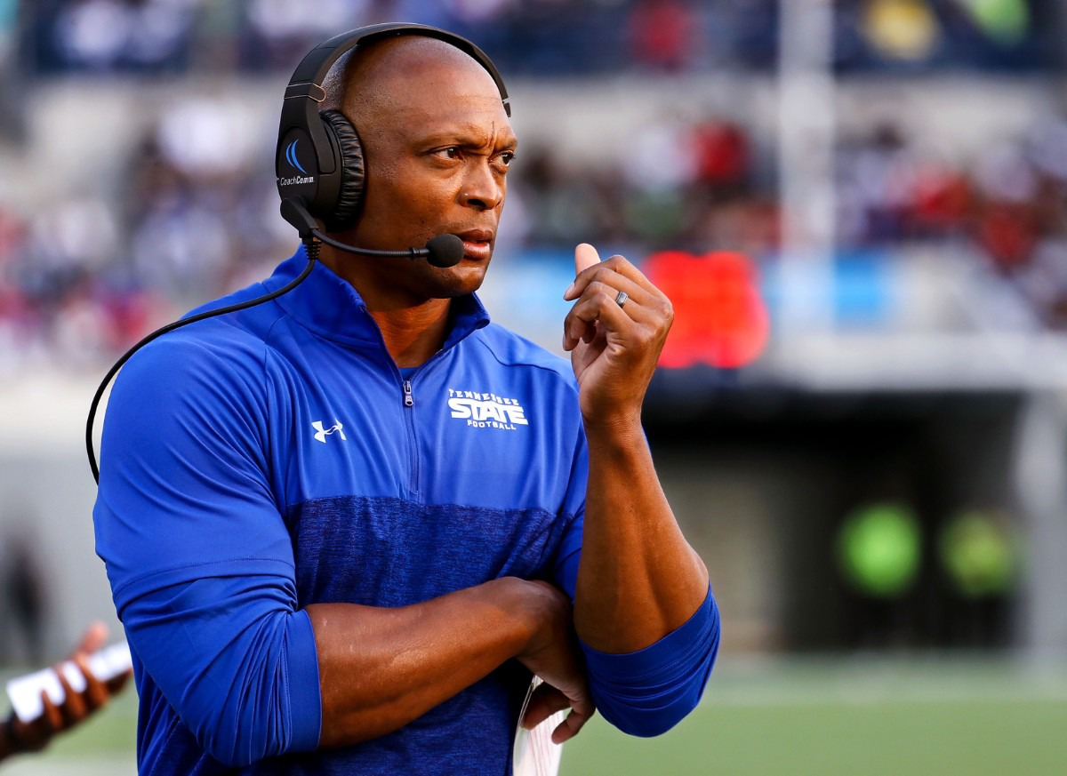 <strong>Tennessee State head coach Eddie George watches from the sidelines of the Southern Heritage Classic in Memphis, Tennessee Sept. 11, 2021.</strong> (Patrick Lantrip/Daily Memphian)
