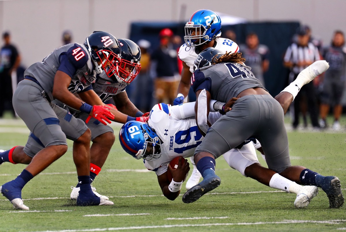 <strong>Tennessee State quarterback Geremy Hickbottom (19) gets sacked during the Southern Heritage Classic in Memphis, Tennessee Sept. 11, 2021.</strong> (Patrick Lantrip/Daily Memphian)